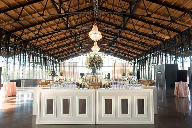 Inside of Main Street Station with wedding decorations